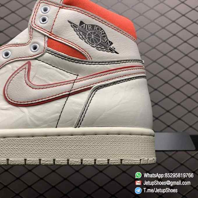 Best Fake Air Jordan 1 Retro High OG Phantom Gym Red Stitching in Black and Red High top Clean Lines Off White Sail Finishing 04