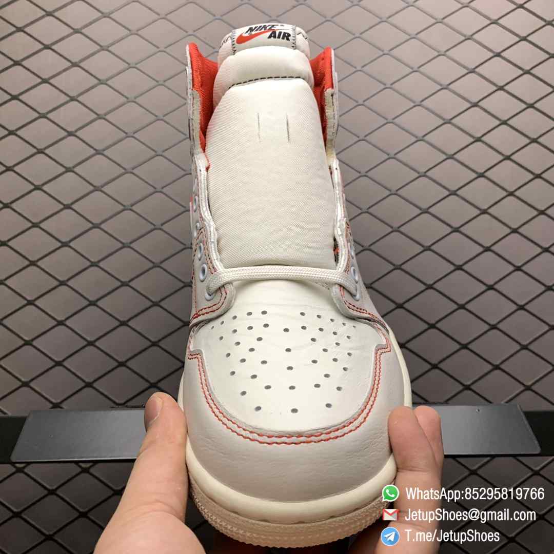 Best Fake Air Jordan 1 Retro High OG Phantom Gym Red Stitching in Black and Red High top Clean Lines Off White Sail Finishing 06