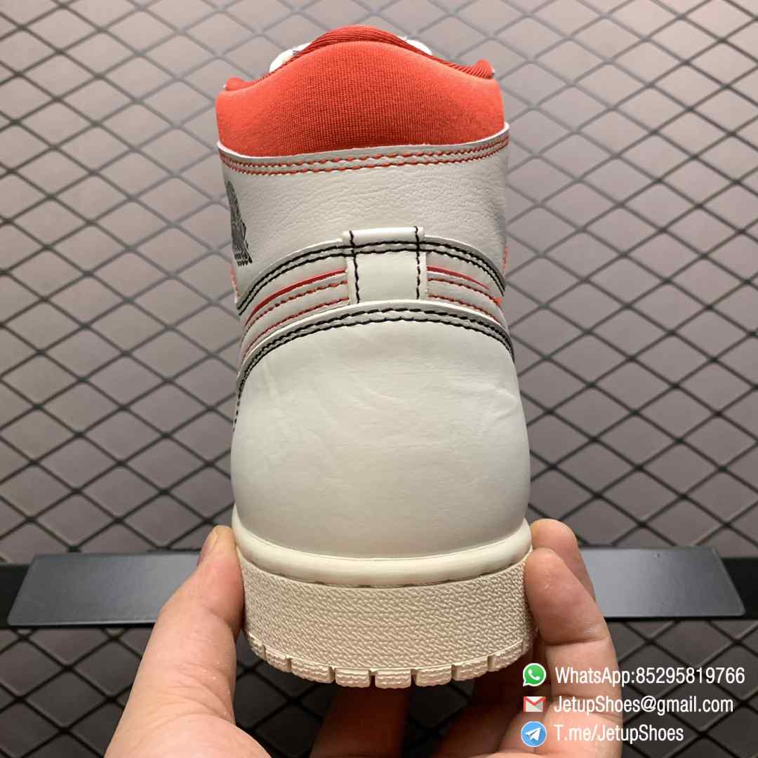Best Fake Air Jordan 1 Retro High OG Phantom Gym Red Stitching in Black and Red High top Clean Lines Off White Sail Finishing 07