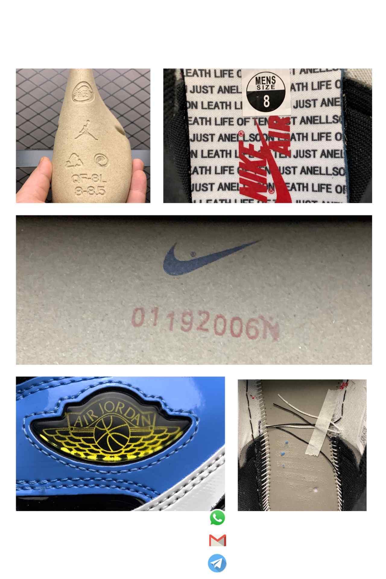 Best Replica Air Jordan 1 Retro High Fearless UNC Chicago SKU CK5666 100 Glossy Patent Leather Upper Metallic Gold Wings Logo 09