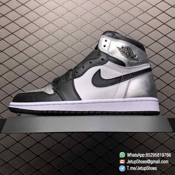 Best Replica Sneakers Wmns Air Jordan 1 Retro High OG Silver Toe Black Forefoot Overlays Shiny Metallic Silver Finish Toe Box 01