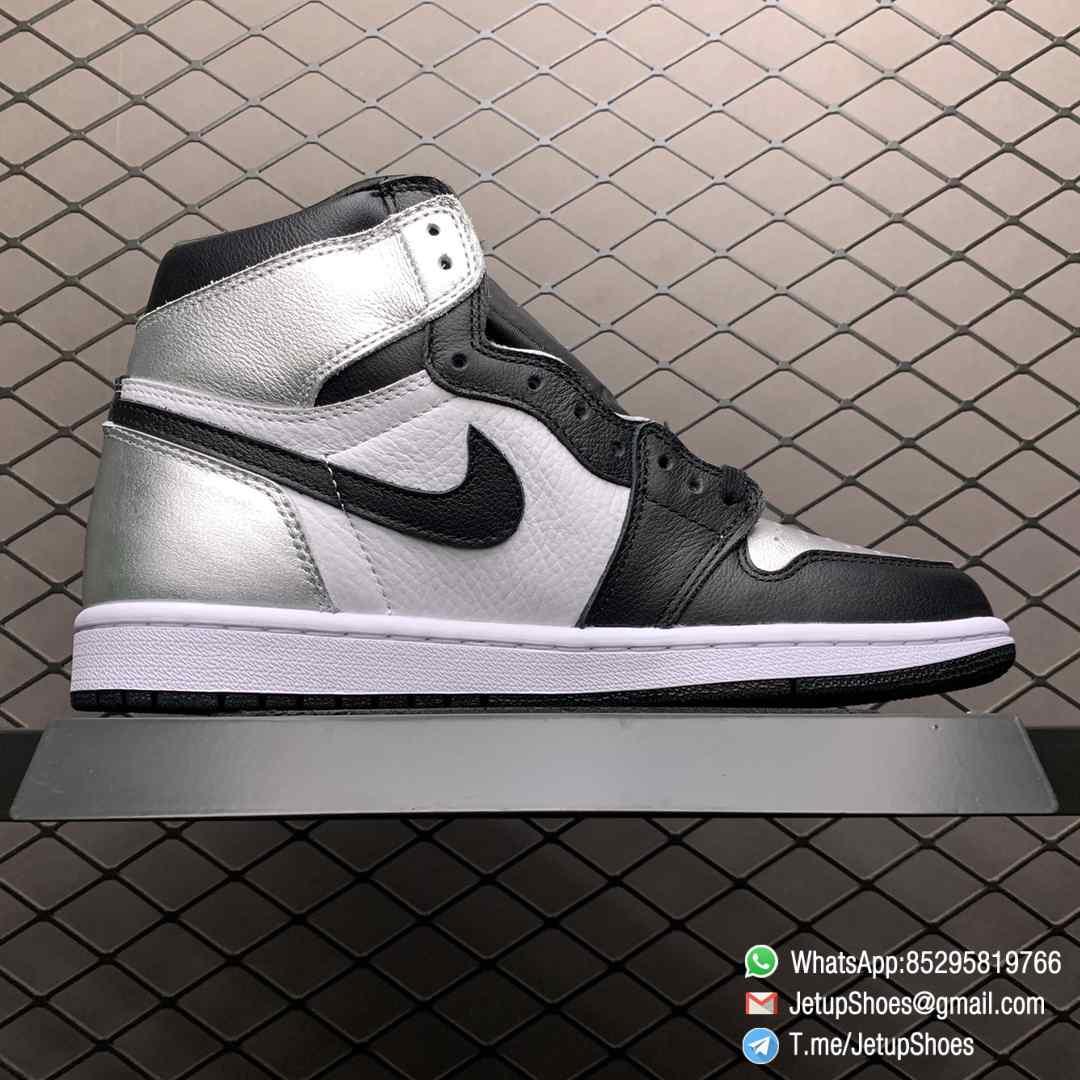 Best Replica Sneakers Wmns Air Jordan 1 Retro High OG Silver Toe Black Forefoot Overlays Shiny Metallic Silver Finish Toe Box 02