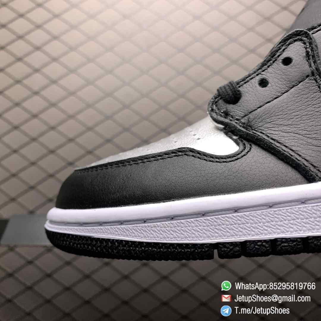 Best Replica Sneakers Wmns Air Jordan 1 Retro High OG Silver Toe Black Forefoot Overlays Shiny Metallic Silver Finish Toe Box 03
