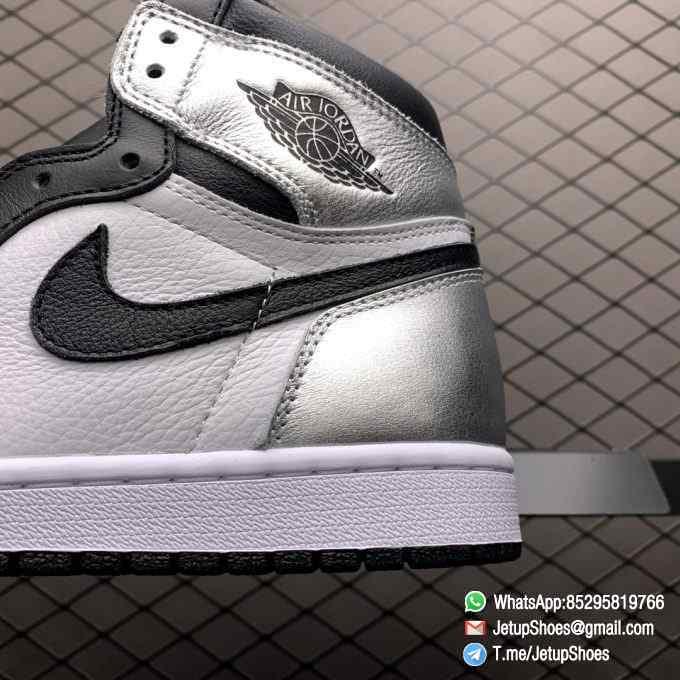 Best Replica Sneakers Wmns Air Jordan 1 Retro High OG Silver Toe Black Forefoot Overlays Shiny Metallic Silver Finish Toe Box 04