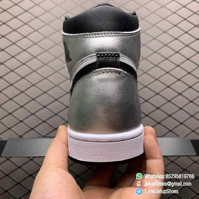 Best Replica Sneakers Wmns Air Jordan 1 Retro High OG Silver Toe Black Forefoot Overlays Shiny Metallic Silver Finish Toe Box 07