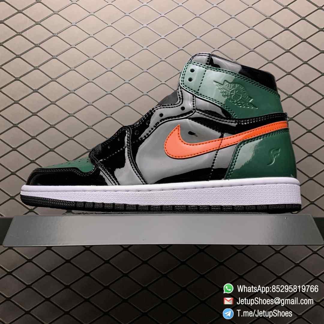 SoleFly x Air Jordan 1 Retro High OG Art Basel Friends Family AV3905 038 Black Leather upper Green Leather Overlays 01