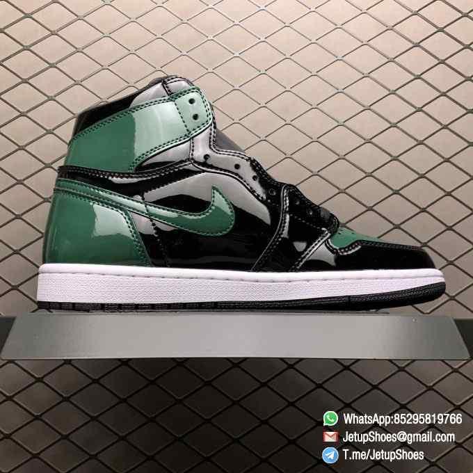 SoleFly x Air Jordan 1 Retro High OG Art Basel Friends Family AV3905 038 Black Leather upper Green Leather Overlays 02