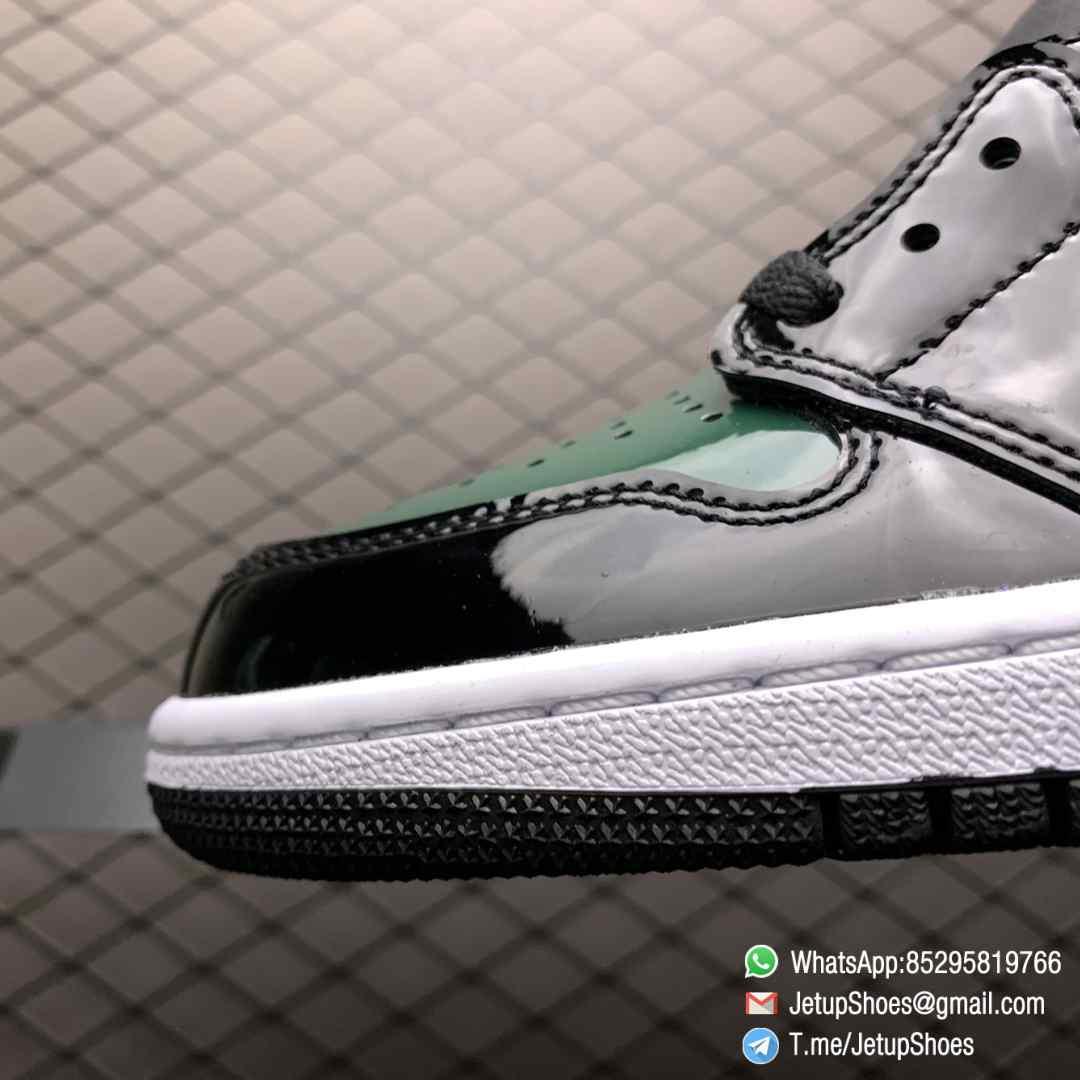 SoleFly x Air Jordan 1 Retro High OG Art Basel Friends Family AV3905 038 Black Leather upper Green Leather Overlays 03