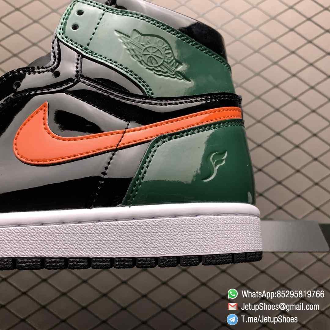 SoleFly x Air Jordan 1 Retro High OG Art Basel Friends Family AV3905 038 Black Leather upper Green Leather Overlays 04