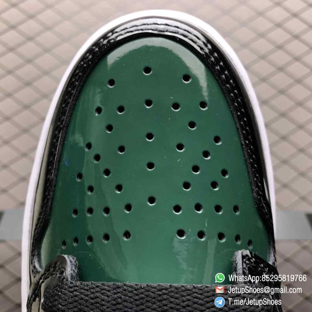 SoleFly x Air Jordan 1 Retro High OG Art Basel Friends Family AV3905 038 Black Leather upper Green Leather Overlays 05