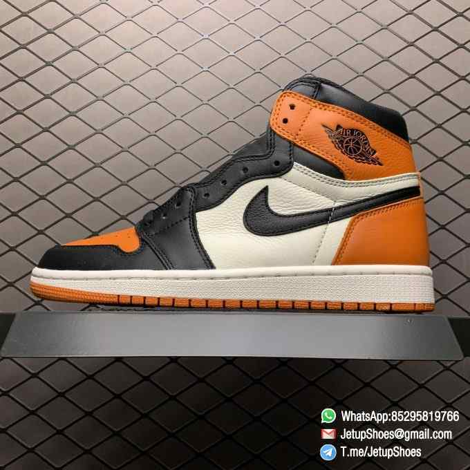 Air Jordan 1 Retro High OG Shattered Backboard SKU 555088 005 Black Laces Orange Toe Box Top Quality RepSneakers 01