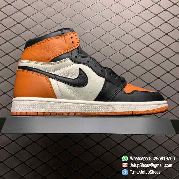Air Jordan 1 Retro High OG Shattered Backboard SKU 555088 005 Black Laces Orange Toe Box Top Quality RepSneakers 02