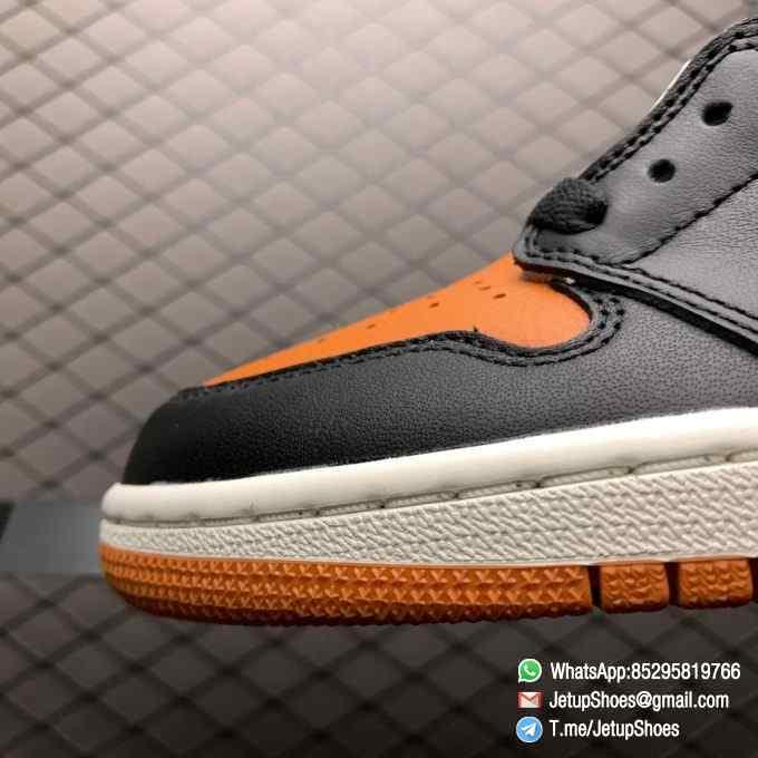 Air Jordan 1 Retro High OG Shattered Backboard SKU 555088 005 Black Laces Orange Toe Box Top Quality RepSneakers 03