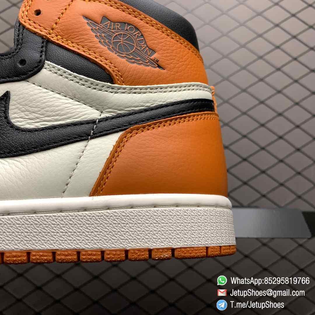 Air Jordan 1 Retro High OG Shattered Backboard SKU 555088 005 Black Laces Orange Toe Box Top Quality RepSneakers 04