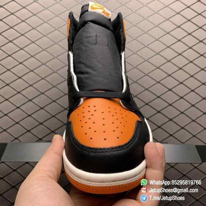 Air Jordan 1 Retro High OG Shattered Backboard SKU 555088 005 Black Laces Orange Toe Box Top Quality RepSneakers 05
