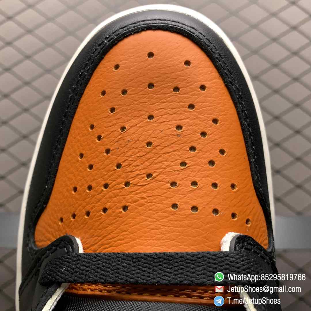 Air Jordan 1 Retro High OG Shattered Backboard SKU 555088 005 Black Laces Orange Toe Box Top Quality RepSneakers 08