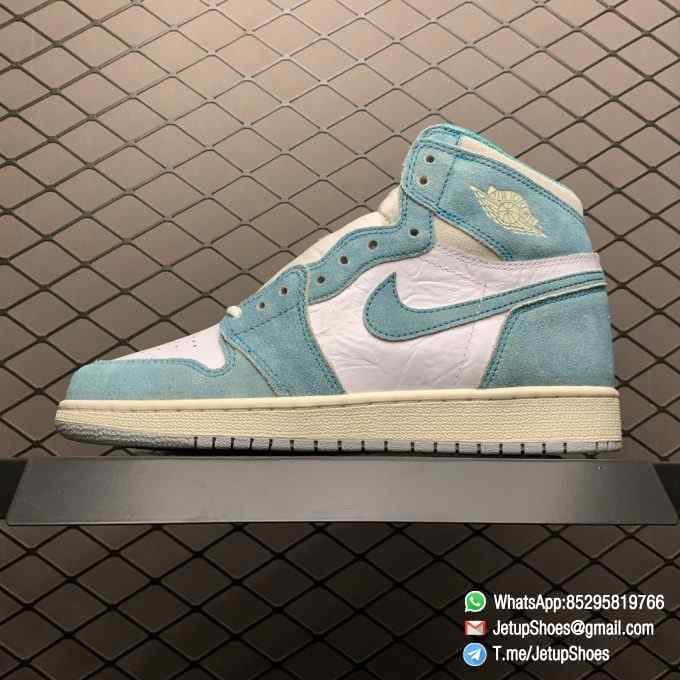 Best Replica Sneakers Air Jordan 1S Retro High OG GS Turbo Green SKU 575441 311 White and Teal Leather Upper 01