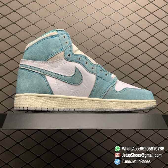 Best Replica Sneakers Air Jordan 1S Retro High OG GS Turbo Green SKU 575441 311 White and Teal Leather Upper 02