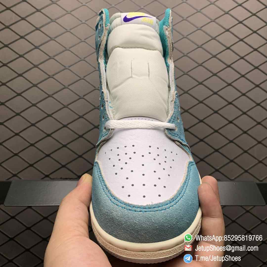 Best Replica Sneakers Air Jordan 1S Retro High OG GS Turbo Green SKU 575441 311 White and Teal Leather Upper 03