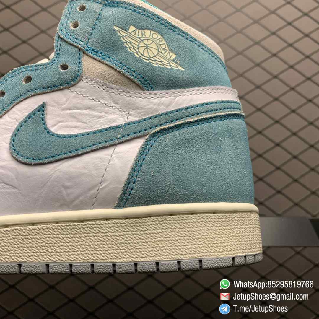 Best Replica Sneakers Air Jordan 1S Retro High OG GS Turbo Green SKU 575441 311 White and Teal Leather Upper 07