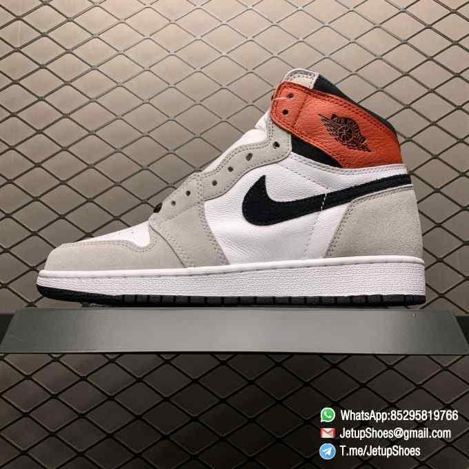 Jordan 1 Retro High OG Smoke Grey SKU 555088 126 Varsity Red Ankle Flap Neutral Tones Upper Grey Suede Overlays 01