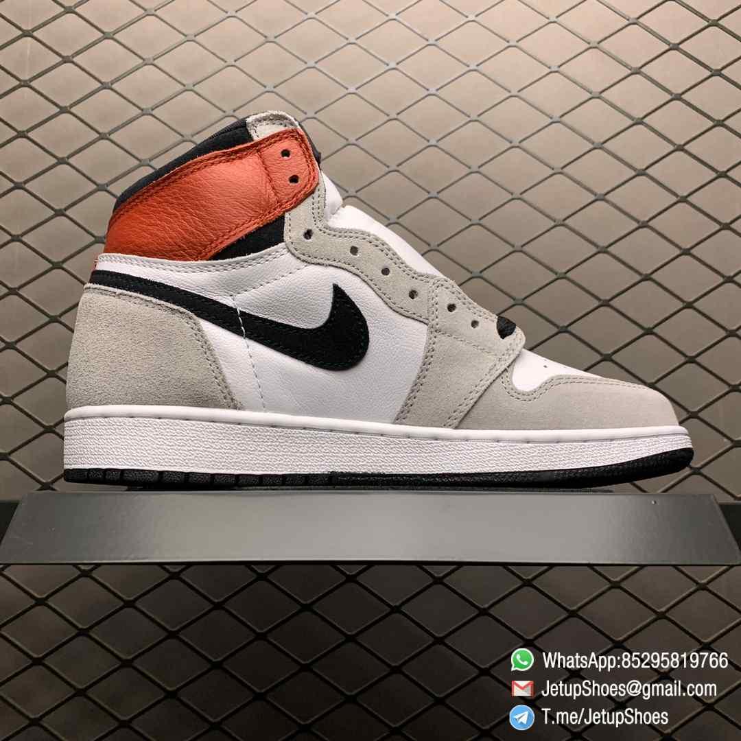 Jordan 1 Retro High OG Smoke Grey SKU 555088 126 Varsity Red Ankle Flap Neutral Tones Upper Grey Suede Overlays 02