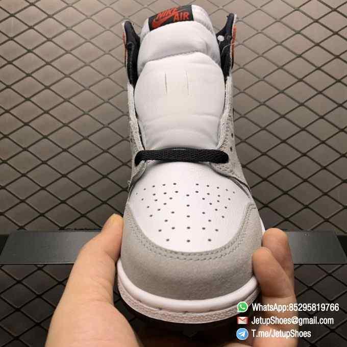 Jordan 1 Retro High OG Smoke Grey SKU 555088 126 Varsity Red Ankle Flap Neutral Tones Upper Grey Suede Overlays 03