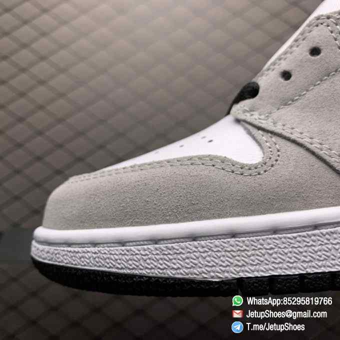 Jordan 1 Retro High OG Smoke Grey SKU 555088 126 Varsity Red Ankle Flap Neutral Tones Upper Grey Suede Overlays 07