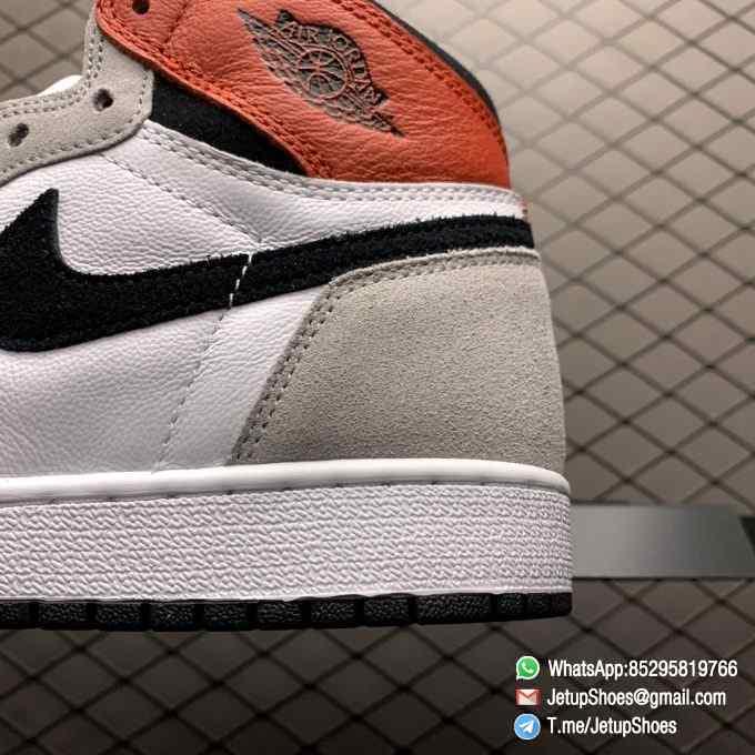 Jordan 1 Retro High OG Smoke Grey SKU 555088 126 Varsity Red Ankle Flap Neutral Tones Upper Grey Suede Overlays 08