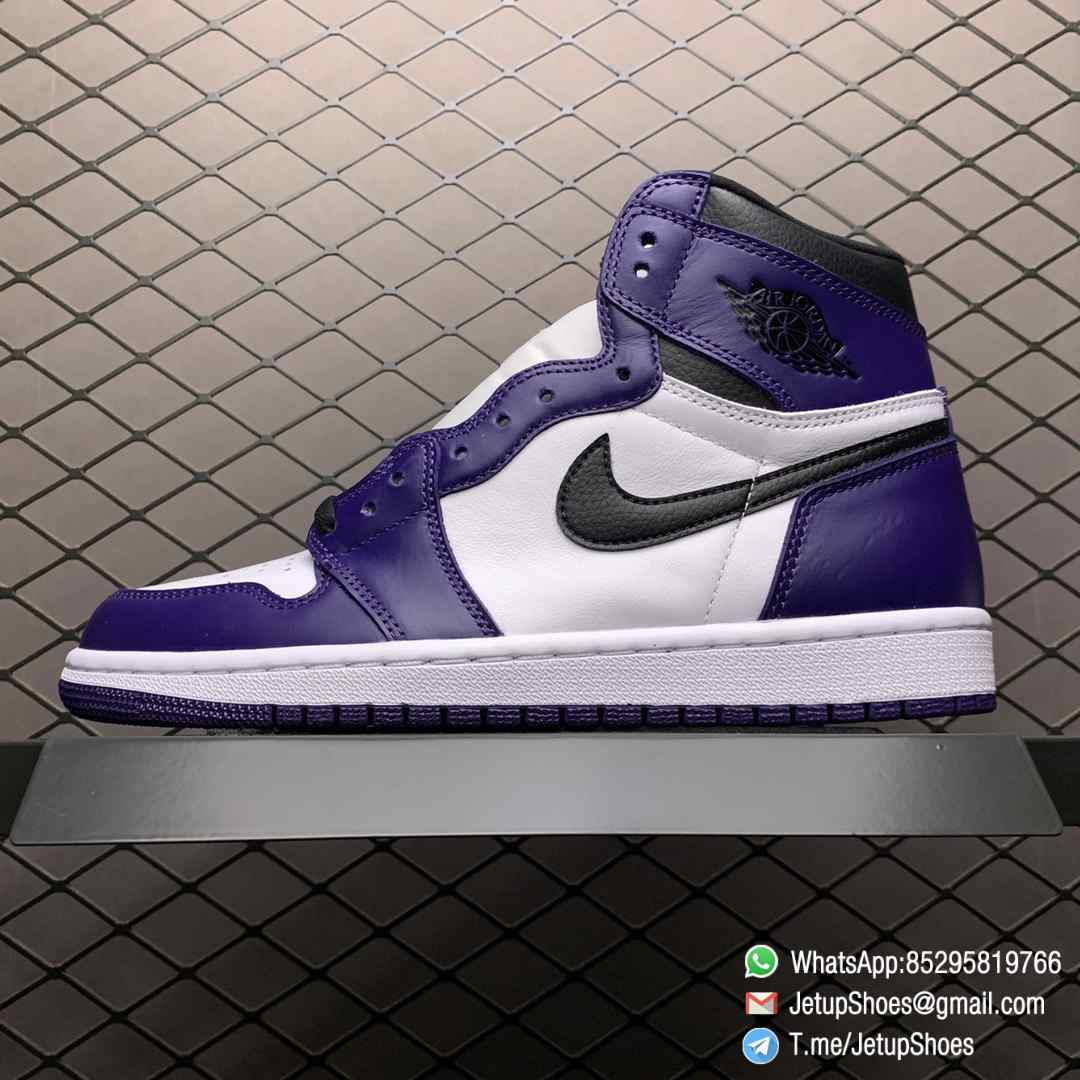 RepSneaker Jordan 1 Retro High Court Purple White SKU 555088 500 White Upper Court Purple Overlays Black Detailing 01