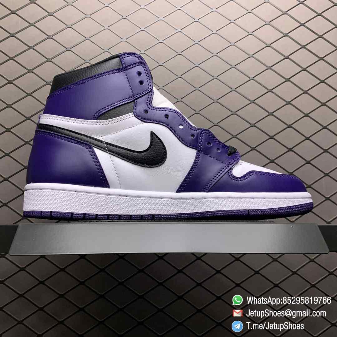 RepSneaker Jordan 1 Retro High Court Purple White SKU 555088 500 White Upper Court Purple Overlays Black Detailing 02