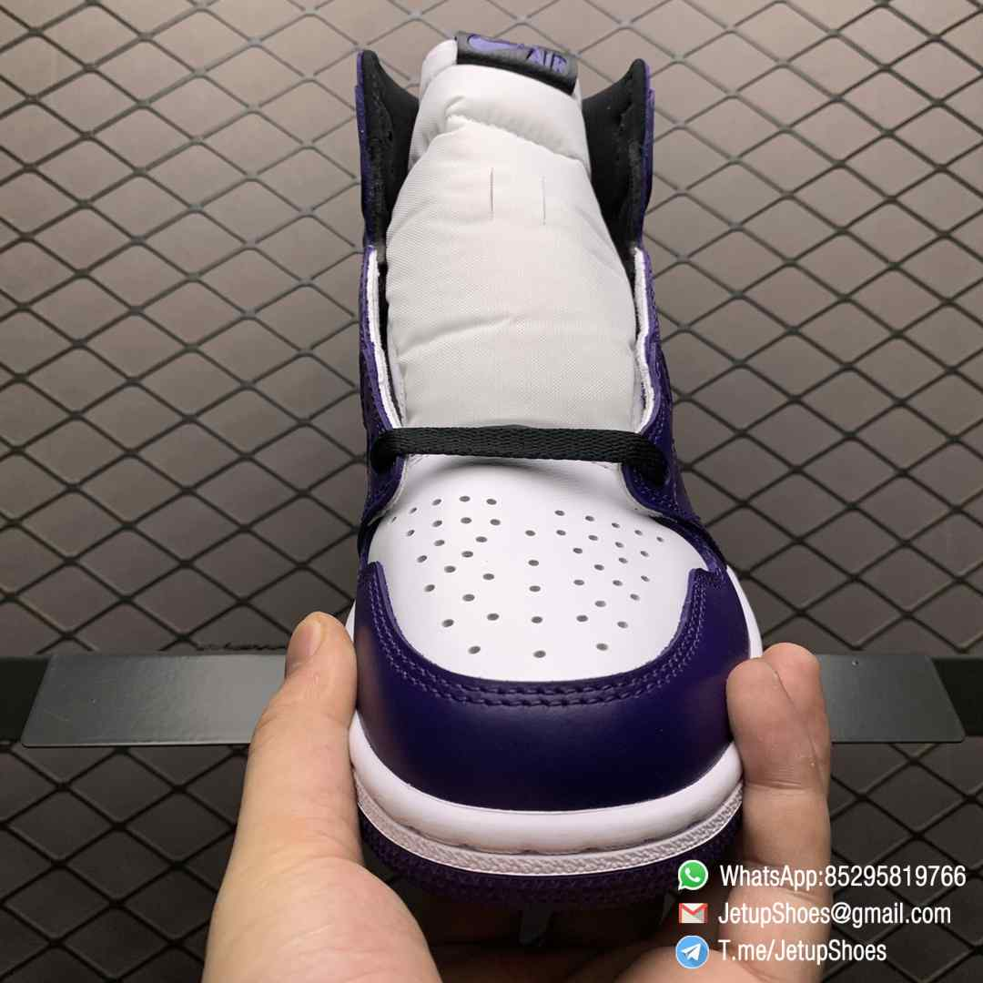 RepSneaker Jordan 1 Retro High Court Purple White SKU 555088 500 White Upper Court Purple Overlays Black Detailing 03