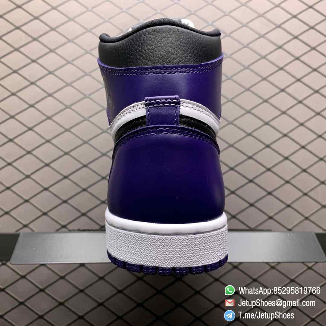 RepSneaker Jordan 1 Retro High Court Purple White SKU 555088 500 White Upper Court Purple Overlays Black Detailing 04
