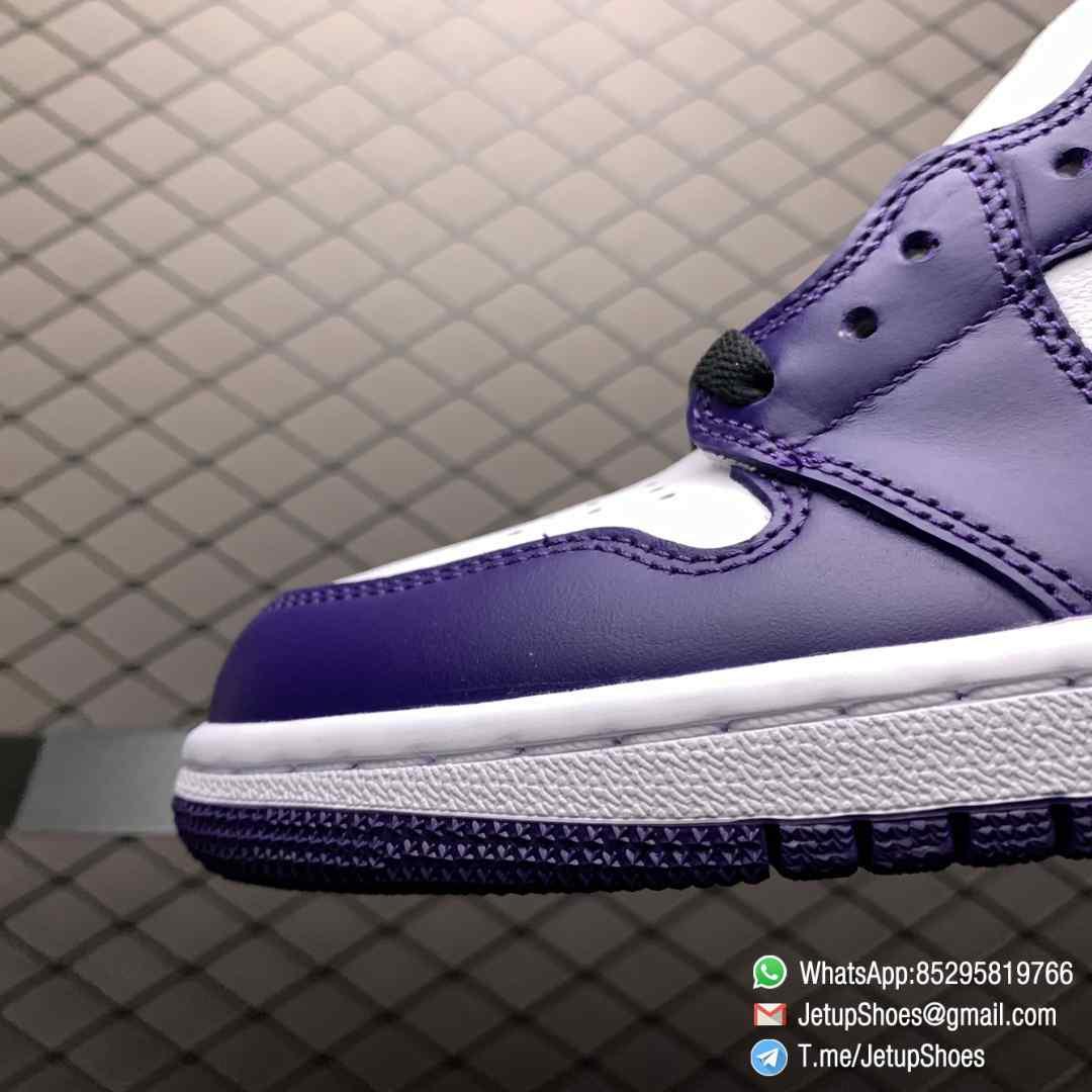 RepSneaker Jordan 1 Retro High Court Purple White SKU 555088 500 White Upper Court Purple Overlays Black Detailing 06