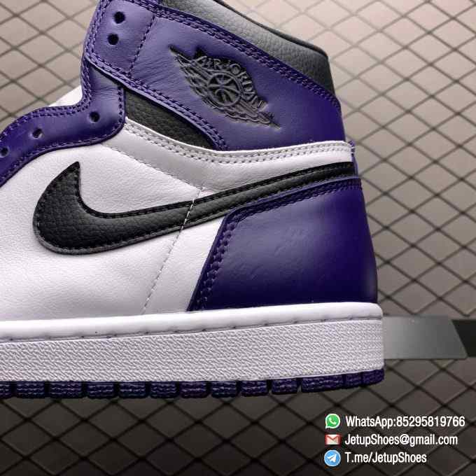 RepSneaker Jordan 1 Retro High Court Purple White SKU 555088 500 White Upper Court Purple Overlays Black Detailing 07