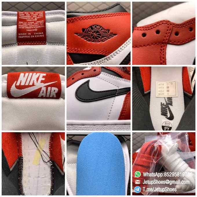 RepSnkrs Womens Air Jordan 1 Retro High OG GS Chicago 2015 SKU 575441 101 Varsity Red Upper Outsole White Midsole 09