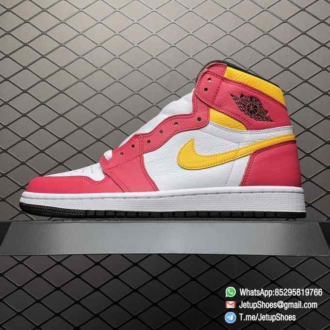 Top Fake Shoes Jordan 1 Retro High OG Light Fusion Red SKU 555088 603 White Upper Dark Pink Overlays Orange Accents Land 01