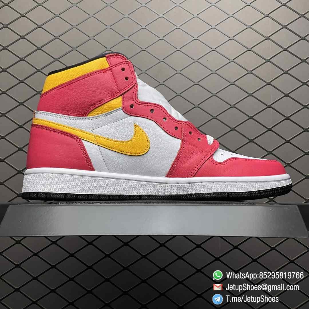 Top Fake Shoes Jordan 1 Retro High OG Light Fusion Red SKU 555088 603 White Upper Dark Pink Overlays Orange Accents Land 02