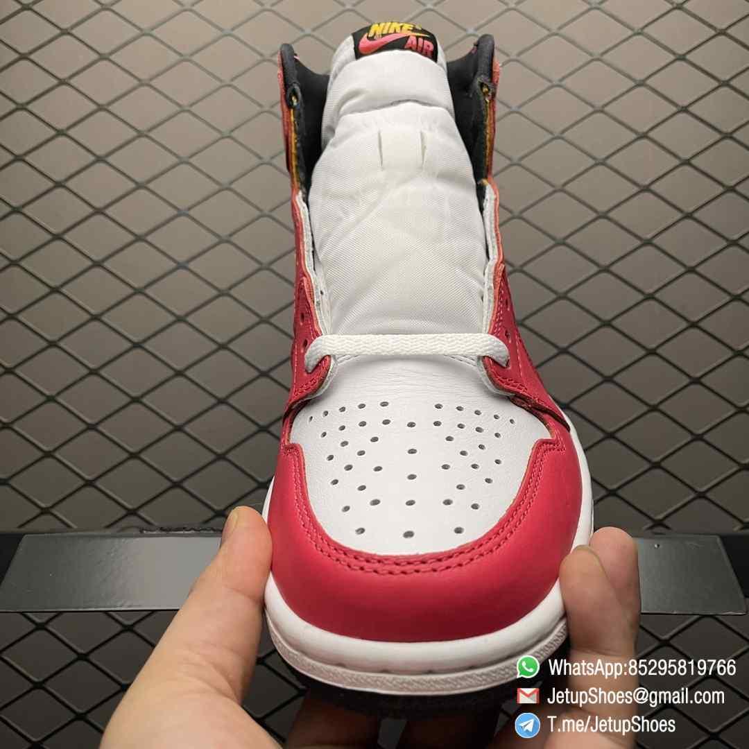 Top Fake Shoes Jordan 1 Retro High OG Light Fusion Red SKU 555088 603 White Upper Dark Pink Overlays Orange Accents Land 03