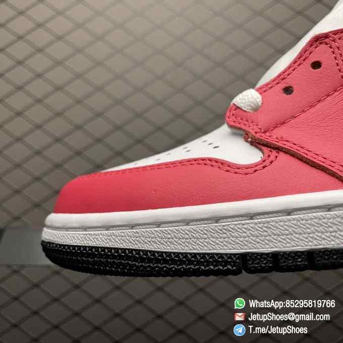 Top Fake Shoes Jordan 1 Retro High OG Light Fusion Red SKU 555088 603 White Upper Dark Pink Overlays Orange Accents Land 07