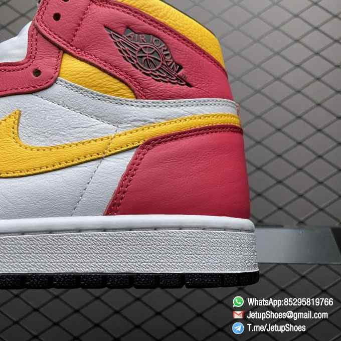 Top Fake Shoes Jordan 1 Retro High OG Light Fusion Red SKU 555088 603 White Upper Dark Pink Overlays Orange Accents Land 08