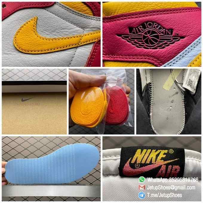 Top Fake Shoes Jordan 1 Retro High OG Light Fusion Red SKU 555088 603 White Upper Dark Pink Overlays Orange Accents Land 09
