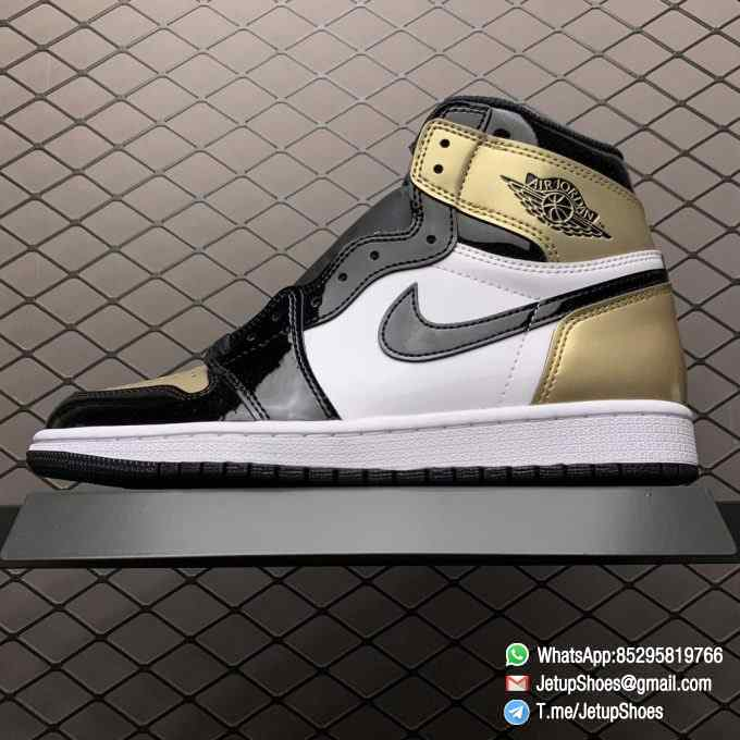 Top Fake Sneakers Air Jordan 1 Retro High OG NRG Gold Toe SKU 861428 007 Black Patent Leather Upper Metallic Gold Accents 01