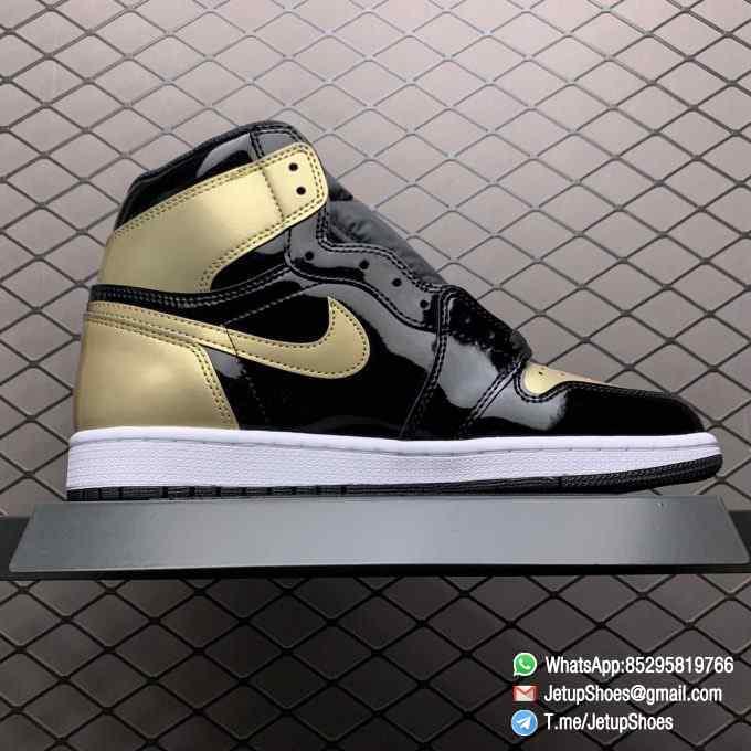 Top Fake Sneakers Air Jordan 1 Retro High OG NRG Gold Toe SKU 861428 007 Black Patent Leather Upper Metallic Gold Accents 02