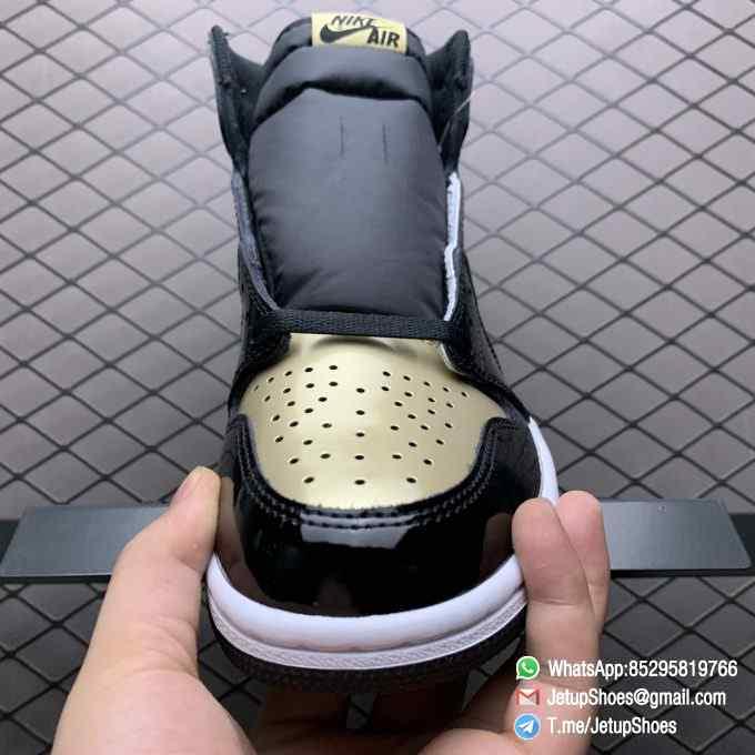 Top Fake Sneakers Air Jordan 1 Retro High OG NRG Gold Toe SKU 861428 007 Black Patent Leather Upper Metallic Gold Accents 03