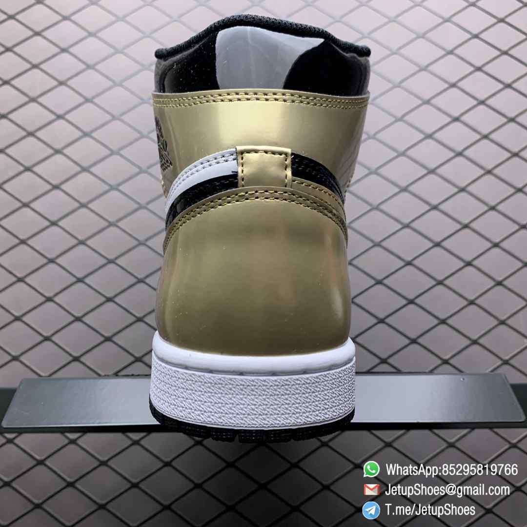 Top Fake Sneakers Air Jordan 1 Retro High OG NRG Gold Toe SKU 861428 007 Black Patent Leather Upper Metallic Gold Accents 04