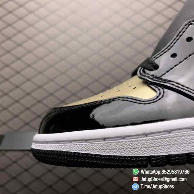 Top Fake Sneakers Air Jordan 1 Retro High OG NRG Gold Toe SKU 861428 007 Black Patent Leather Upper Metallic Gold Accents 06