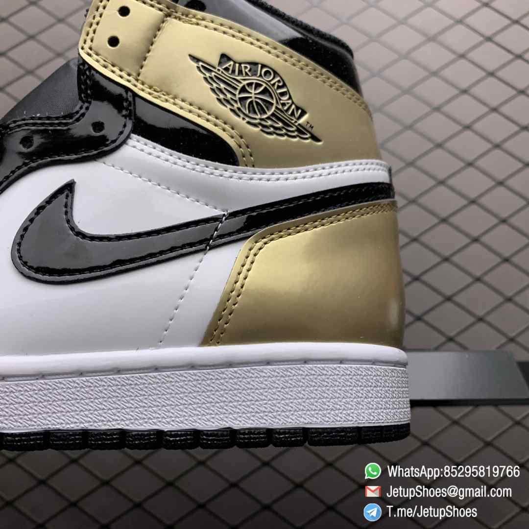 Top Fake Sneakers Air Jordan 1 Retro High OG NRG Gold Toe SKU 861428 007 Black Patent Leather Upper Metallic Gold Accents 07
