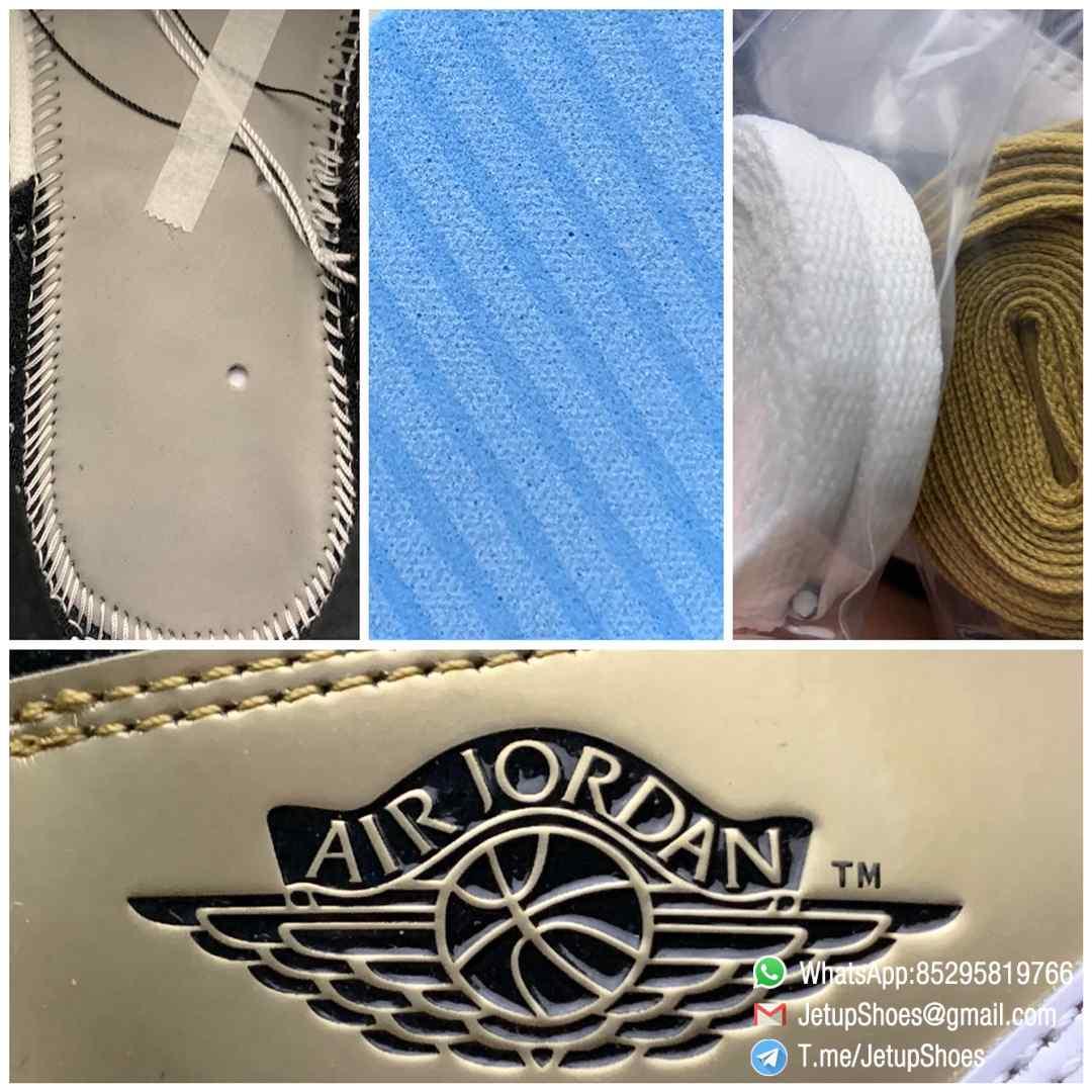 Top Fake Sneakers Air Jordan 1 Retro High OG NRG Gold Toe SKU 861428 007 Black Patent Leather Upper Metallic Gold Accents 09