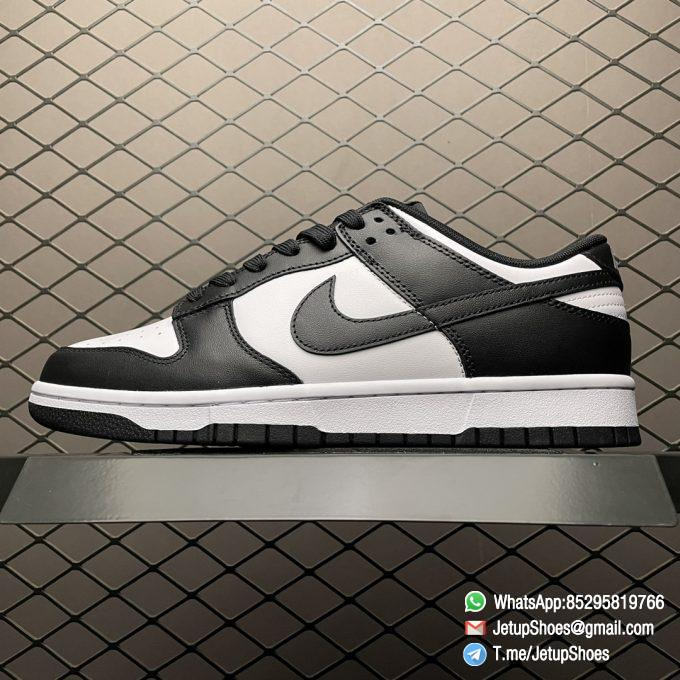 Best Replica Shoes Nike Dunk Low Black White White Leather Base Upper Black Overlays Around Toe and Heel SKU DD1391 100 01